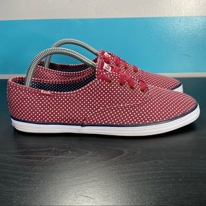 Keds red with white polka dot sneakers